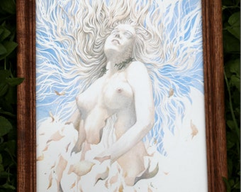 Pagan Witch Goddess Original Framed Artwork - Rare & Vintage
