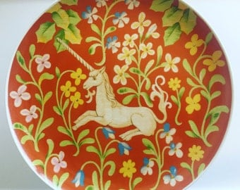 Seymour Mann 1976 The Hunt of The Unicorn Flemish Tapestry Cake Plate