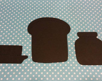 Toast, Butter & Jam Die Cut 10 Sets- Die Cut- Cutout- Custom Colors Available