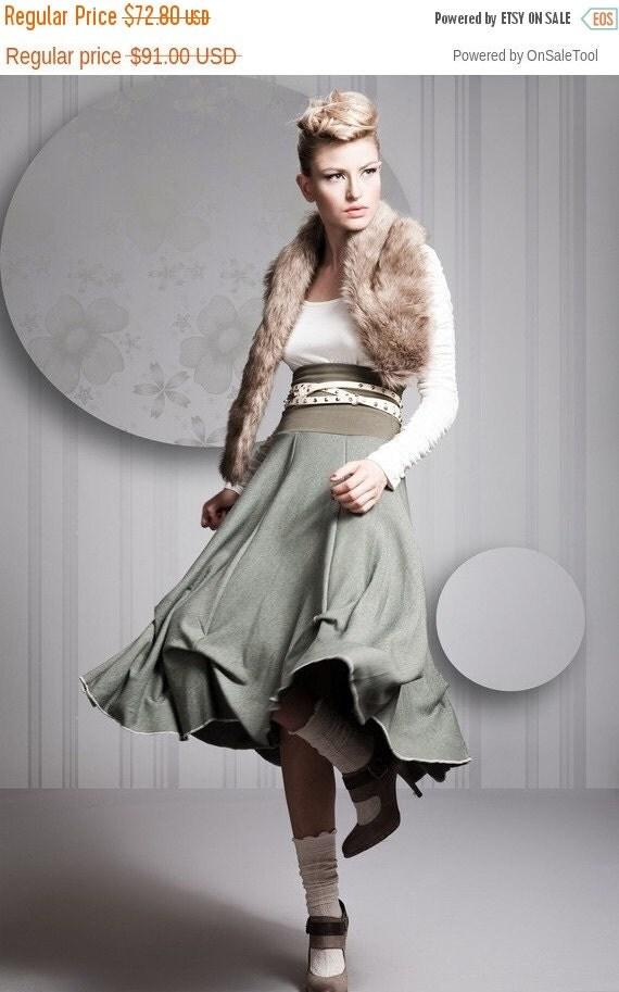 christmas sale Green Skirt, Flared Skirt Feminine Shape, Romantic Skirts, Unique Skirts, Woman Skirt Long Green, Thick Shredded Cotton, Any