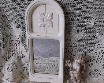 Wood arch, Shabby white small mirror, repurposed vintage, French nordic