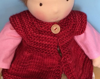 Sweater for 16-inch Waldorf Doll  Hand Knit Cardigan Sweater for Waldorf Dolls  **Ravelry Red**
