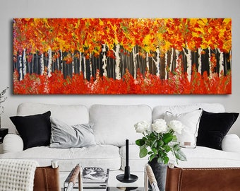 Abstract Painting, Textured Impasto Painting, ORIGINAL Modern Forest Palette Knife Oil Abstract, 6 feet, Orange Painting, red large art