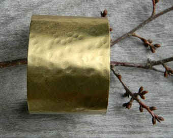 Wide brass cuff hammered gold tone cuff bracelet distressed metal cuff handmade artisan jewelry gift for her statement cuff