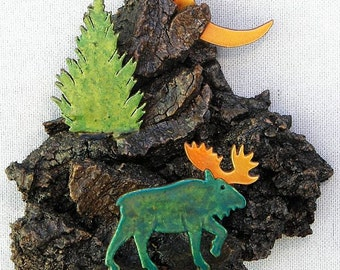 """Moose with Pine Tree and Crescent Moon 6"""" x 5.5"""" x 4.5"""" Wall Hanging"""