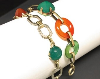 Art Deco 14K Chrysoprase & Carnelian Bracelet Yellow Gold Circa 1930s Size 7.5