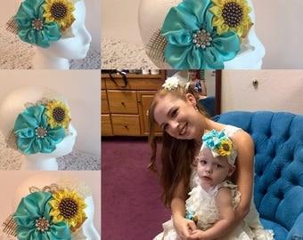 Sunflower Headband, Flower Girl Sunflower Headband, Handmade Sunflower and Aqua Flower Headband, Bronze Pearls and Lace Headband