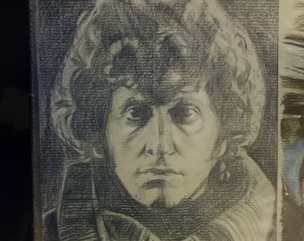 Original drawing of Tom Baker as Doctor Who