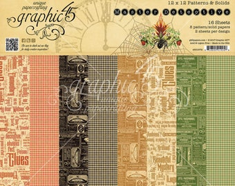 """Graphic 45 """"Master Detective"""" 12x12 Patterns & Solids Pad"""