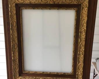 Antique Oak Picture Frame with Gold Gilt Gesso Details