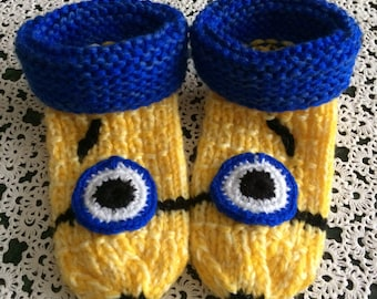 Knitted Children Socks.Knitted Minions Socks.Knitted Home Slippers.