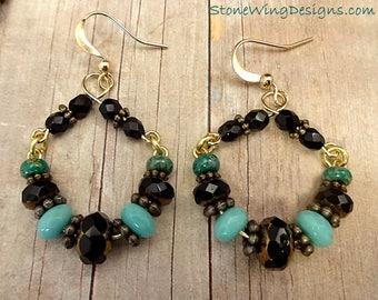 Rustic Boho Earrings, Black and Green Earrings, Rustic Hoop Earrings, Black Glass and Brass Earrings, Artisan Earrings, Handmade Hoops