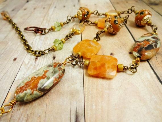 Vista Jasper Necklace, Orange Calcite and Jasper Necklace, Boho Necklace, Wire Wrap Necklace, Fall Colors Jewelry, Orange and Green Necklace