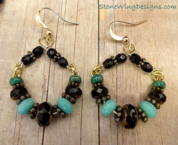 Rustic Boho Hoop Earrings with Magnesite, Czech Firepolish and Antique Brass