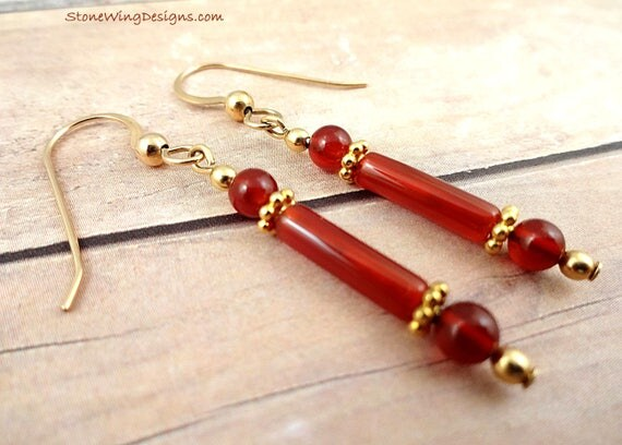Long Orange Carnelian Earrings