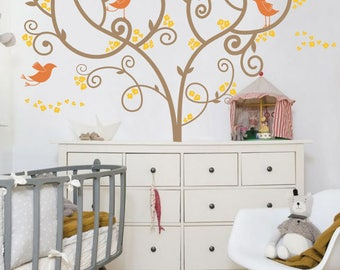Artistic Swirly Tree with Birds - Nursery Wall Decal