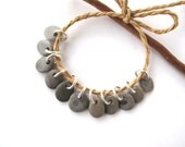 Rock Beads Small Mediterranean Natural Stone River Stone Jewelry Supplies Pairs Tiny GREY CHARMS 10-11 mm