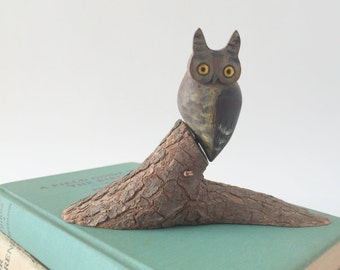 Small Vintage Carved Wood Owl on a Tree Slice, 1970's Figurine Collectible