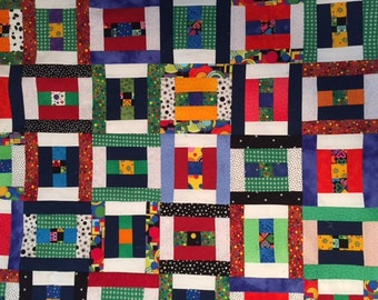 Scrappy Unfinished Baby Quilt Top - Primary Colors