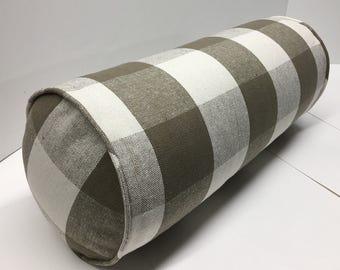 Bolster in Buffalo Plaid Upholstery Designer Fabric
