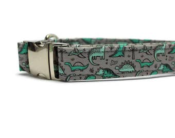 "Green Dinosaur Dog Collar | Your choice of metal buckle or plastic buckle | 1"", 1.5"" or 2"" width only 