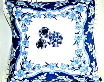 Upcycled 1950s retro handkerchief hankie pillow / blue & white floral print / pretty cottage home decor