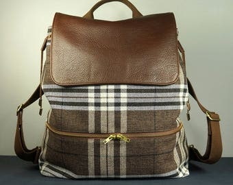 Tory Backpack with Brown Plaid Canvas and Brown Leather Trims/ Fashion Backpack/ Womens Backpack