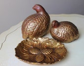 Vintage Pheasants With Dish