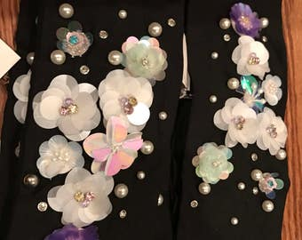 Floral Sequin + Pearl Wrap