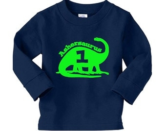 Personalized Brontosaurus Dinosaur Name Birthday Shirt - long sleeve thisrt shirt - any name and age - pick your colors!