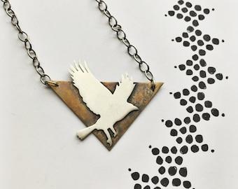 Sterling Crow Spirit Animal Necklace