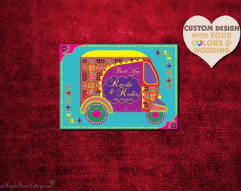 Indian Wedding Thank You Card Design Boho Rustic Auto RICKSHAW TUKTUK Invitation Set Hindu Asian Thai Punjabi Sikh Indonesian African Muslim