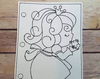 Princess Kissing Frog Coloring Page Reusable Vinyl