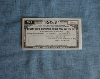 Vintage Doctor Dispensing Opium Coca Leaves Tax Stamp Beverly Hills, CA Rare 1938 Internal Revenue