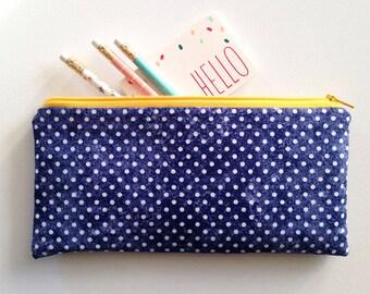 Zipper Pouch, pencil case, navy polka dot, make up bag, zipper bag, organizer