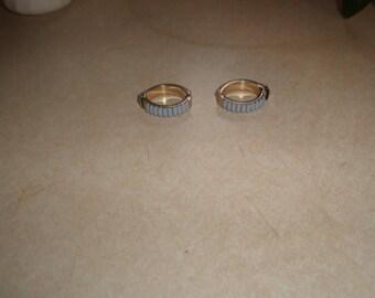 vintage clip on earrings silvertone hoops blue lucite