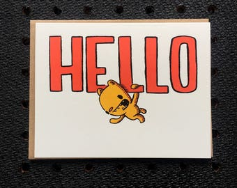 hello bear card, bear card, cute card, thinking of you card, just because card