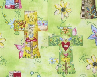Easter Crosses, Christian Fabric,  Easter Fabric, Flowered Crosses, Spring fabric, By the yard, Cotton Fabric