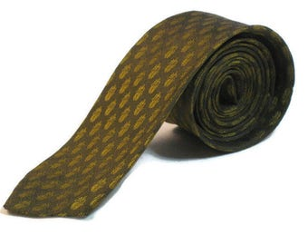 50s Gold Green Tie 1950s Narrow Khaki Tie Vintage Skinny Necktie Narrow Patterned Tie Olive Green Tie Silk Warp Tie Rockabilly Tie