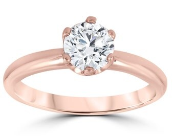 Rose Gold Diamond Engagement Ring 1 Carat Solitaire 6-Prong Ring 14k