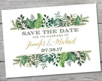 Watercolor Greenery Save the Date, PRINTABLE Wedding Announcement, Wedding Save the Date , Watercolor Save the Date, Wedding Save the Date