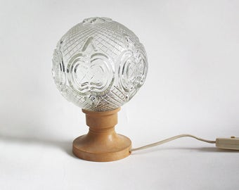 1970s Table Lamp. Beige brown globe glass bedside light. Midcentury Modern Lighting. Funky / teen / dorm / night light.
