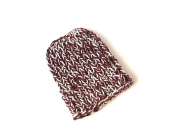 Handknit messy bun hat pure wool maroon tweed and white