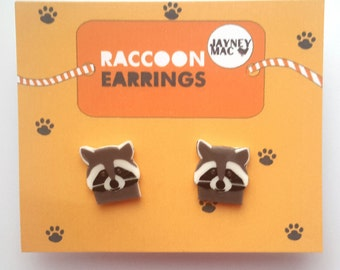 Raccoon Shrink Plastic Earrings - Raccoon Stud Earrings