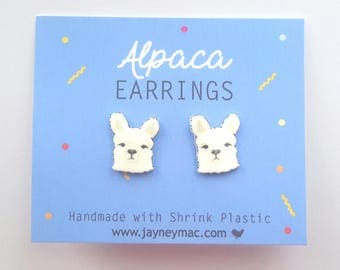Alpaca Earrings - Shrink Plastic Alpaca Stud Earrings
