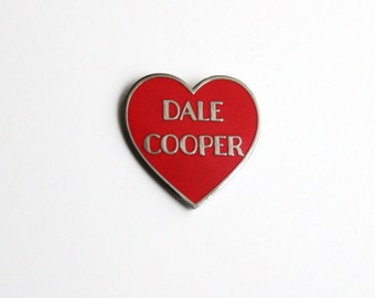 "Dale Cooper Red and Black Nickel Heart Pin // Twin Peaks inspired // 1.25"" hard enamel lapel pin"
