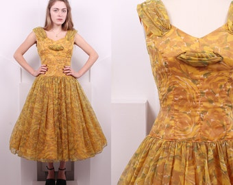 Vintage 1950's Yellow Rose Watercolor Fit and Flare Dress • 50s Chiffon Floral Party Dress • Size S/M