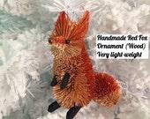 Handmade Wood Red Fox Ornament 5inch tall glitter fox,  very light-weight USA