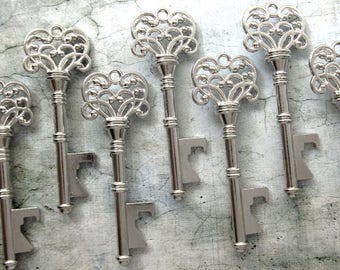 "Skeleton Key BOTTLE OPENERS – Set of 50 – Antique Silver – 3"" Long (76mm) –Vintage Style - Create Your Own Wedding Favors! Ships from USA."