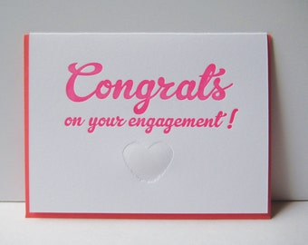 Congrats on your engagement - Engagement - letterpress card - letterpress engagement - heart - fingerprints - congratulations - love - unity